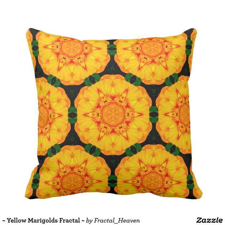 ~ Yellow Marigolds Fractal ~ Cushion