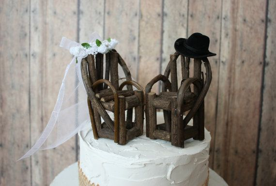 Not as western to me but country growin old...je  Western chairs-log-wedding cake topper-rustic-cake topper-rustic wedding-cowboy-cowgirl-Adirondack-chairs-miniature-fishing-fisherman-bride