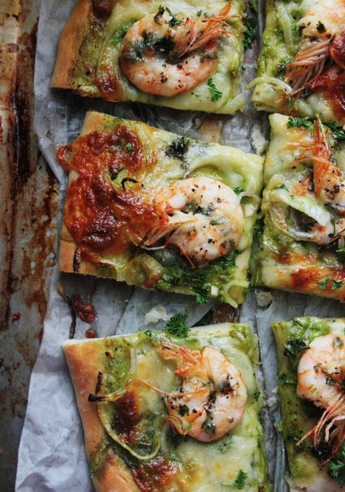 Notions & Notations of a Novice Cook - Making Shrimp Scampi Pizza: looks delicious with parsley pesto