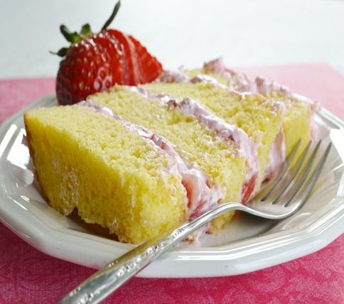 French Vanilla Cake with Strawberry Creme Frosting - You can't eat just one bite!