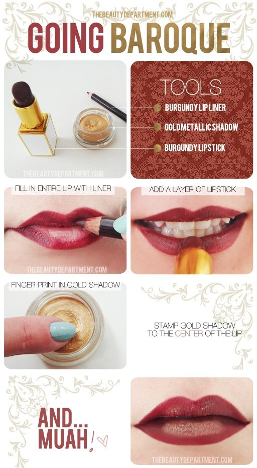 Translate the Baroque Fall Fashion trend with this burgundy + gold lip statement! - Click image to find more Hair & Beauty Pinterest pins