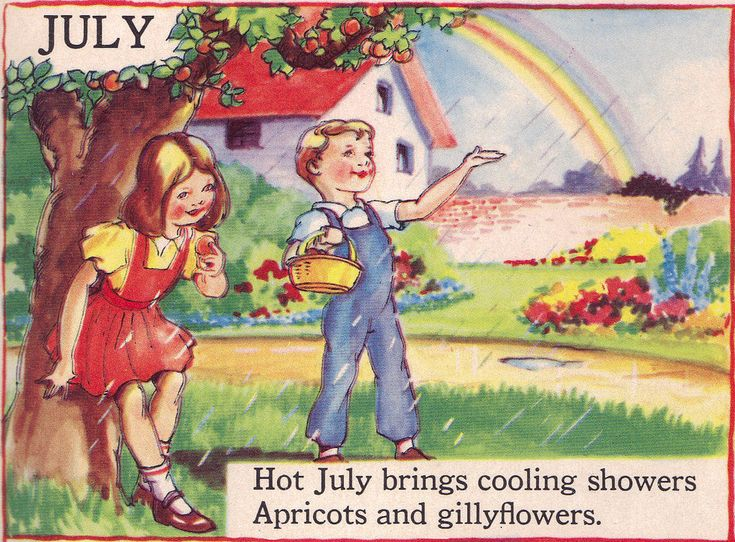 """JULY - The Bumper Book; """"A bumper crop of good stories and poems to grow on"""" Illustrated by Eulalie Edited by Watty Piper 1946"""
