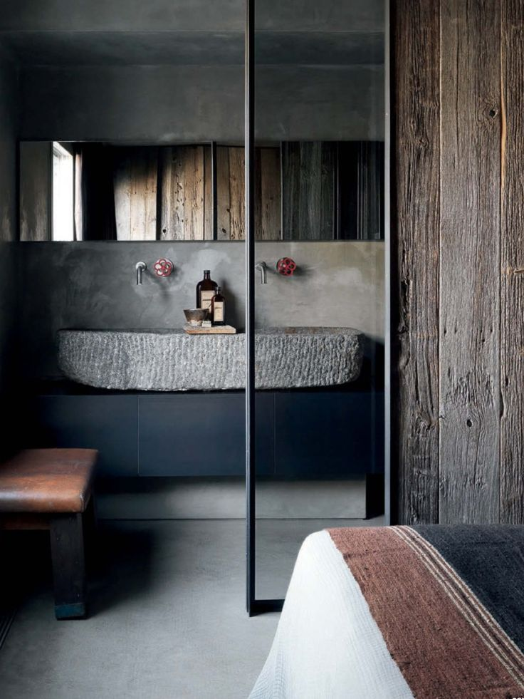 Bathroom   Raw & rustic materials   Black cabinet   Old brushed wooden wall covering