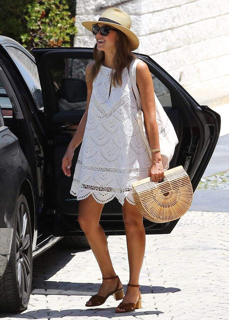 Jessica Alba Just Wore the Most Perfect White Sundress Ever | from InStyle.com