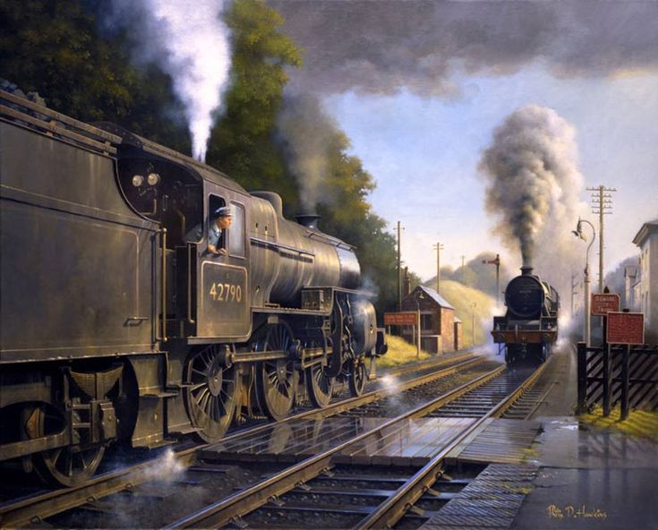 The famous Lickey bank which climbed for two miles from Bromsgrove, Worcestershire to Blackwell at a gradient of 1 in 37 was the steepest stretch of main line in the country. Here, at the summit, a `Crab` 2-6-0 No.42790 waits with a southbound freight as a `Jubilee` 4-6-0 No.45699 `Galatea` battles against the gradient with a northbound train.
