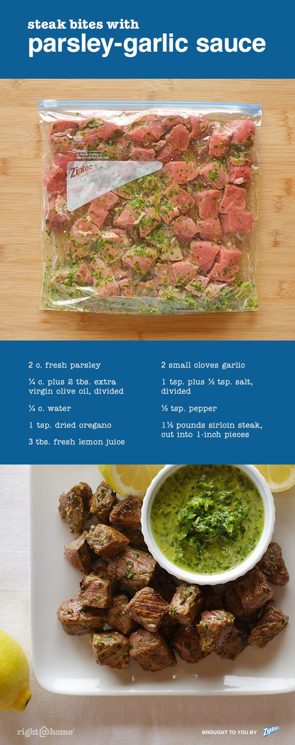 The garlic, lemon and parsley sauce in this steak recipe is based on chimichurri, a traditional Argentine sauce that is served over grilled meats. Here it makes a perfect dipping sauce for an appetizer of bite-sized steak pieces. Be sure to use fresh parsley, not dried. Fresh parsley is essential for the vibrant green color of the sauce as well as the fresh flavor and smooth texture.