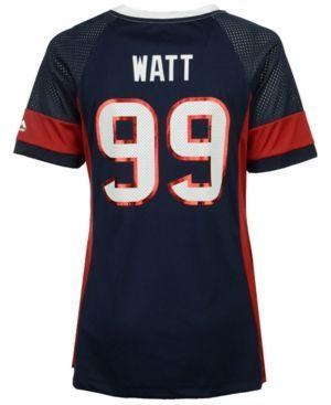 Majestic Women's J.j. Watt Houston Texans 2017 Draft Him T-Shirt - Blue XL