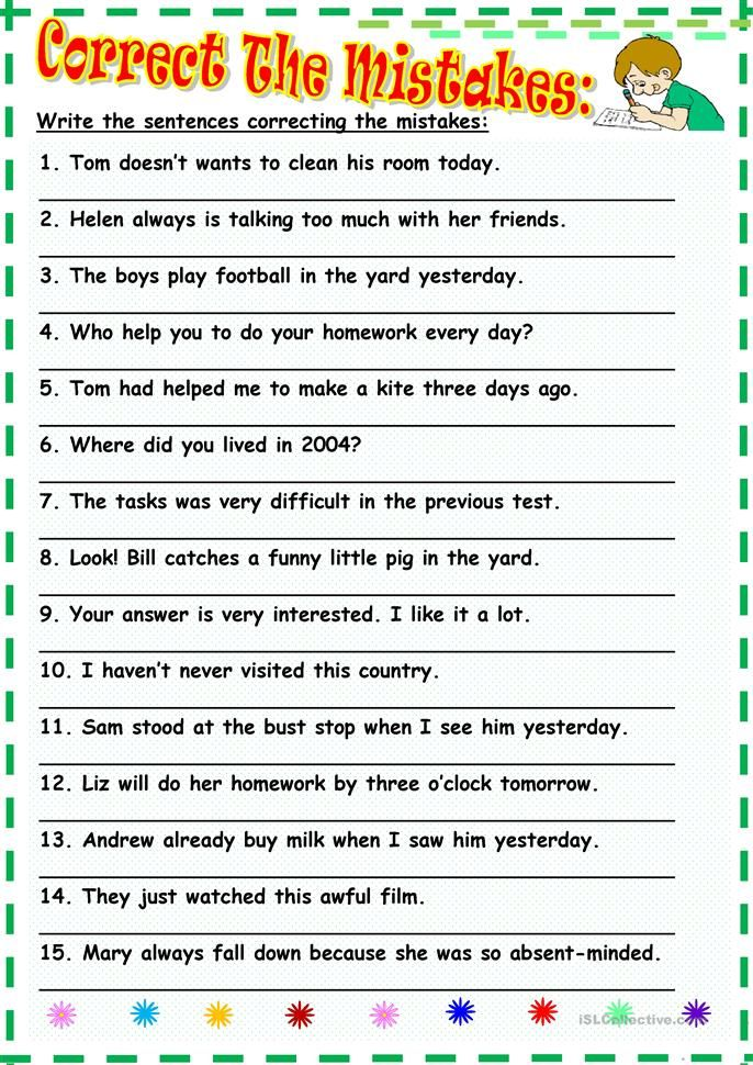 Correct The Mistakes With Images English Worksheets For Kids