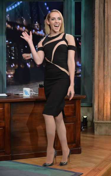 Jena Malone Visits Late Night with Jimmy Fallon in a cutout LBD - Best Dressed – Celebrity Style Moments -#CatchingFire