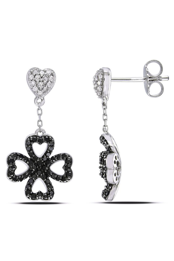 Eclipse .5 Ct Black And White Diamond Earrings In 14k White Gold