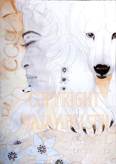 """Eternal Summer to come"".  About climate warming: endangering the Polar bear. Watercolour by Naja Abelsen, Denmark."
