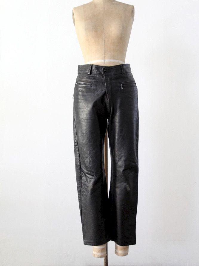 vintage black leather motorcycle pants, 32 x 26