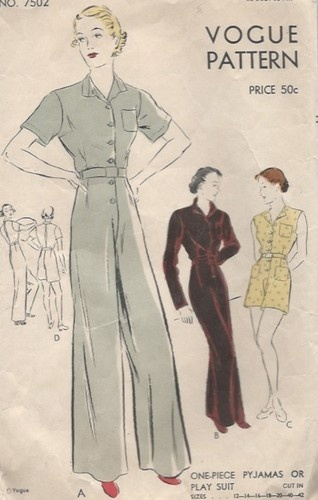 40s Playsuit Original Vogue Vintage Fashion Pattern Pyjama Jumpsuit Loungewear   eBay