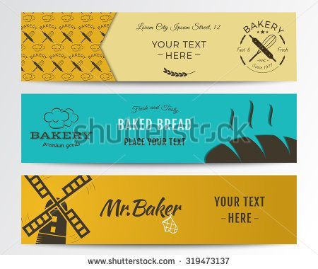 Bakery and food banners collection. Banner set with fresh bread, windmill icons, logos, labels. Stylish color design. Can be use in web or typography print. Vector illustration
