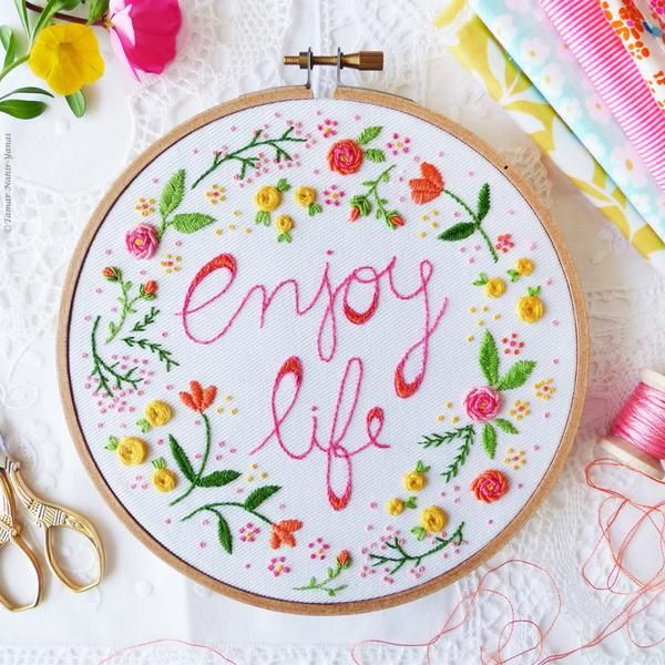 "Enjoy Life - 6"" embroidery kit"