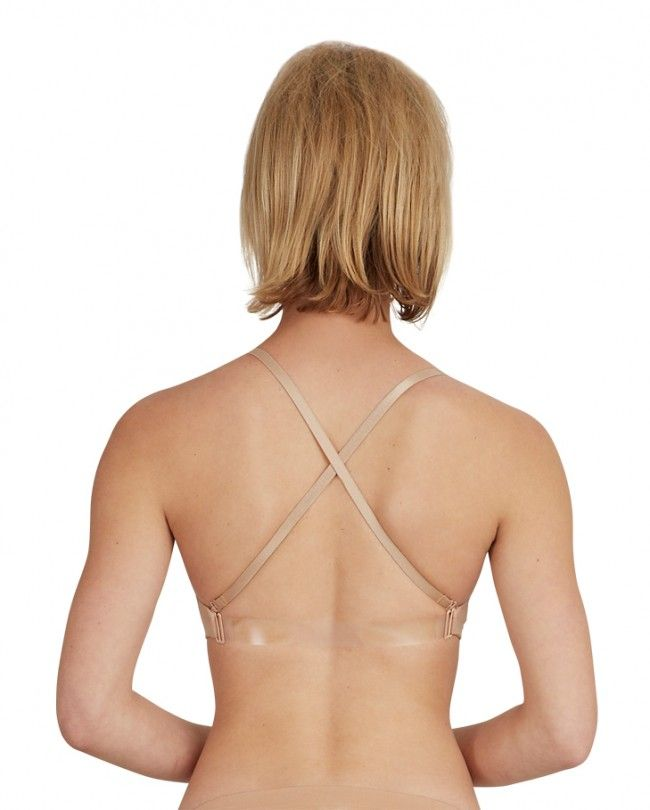 Adult Seamless Clear Back Bra - in Mocha
