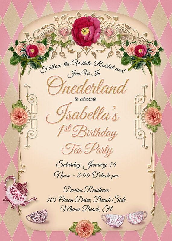 Onederland Tea Party Birthday Invitation 1st Birthday Tea