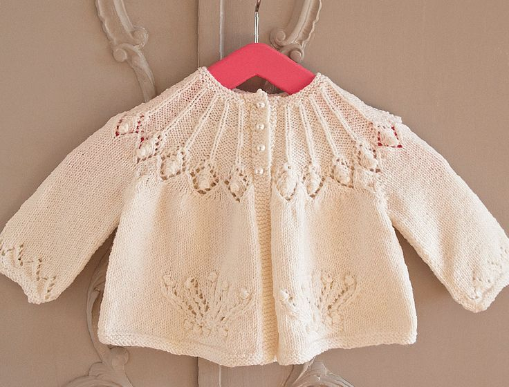 This exquisite cardigan pattern was first issued by Patons in 1982 to celebrate the birth of Prince William, and we're delighted to bring you an updated version to mark the forthcoming birth of the Prince's second child with the Duchess of Cambridge. With its diamond lace yoke and crown motifs, this garment is special enough for a christening and is sure to become a family heirloom. 6 to 12 months. Free pattern: link