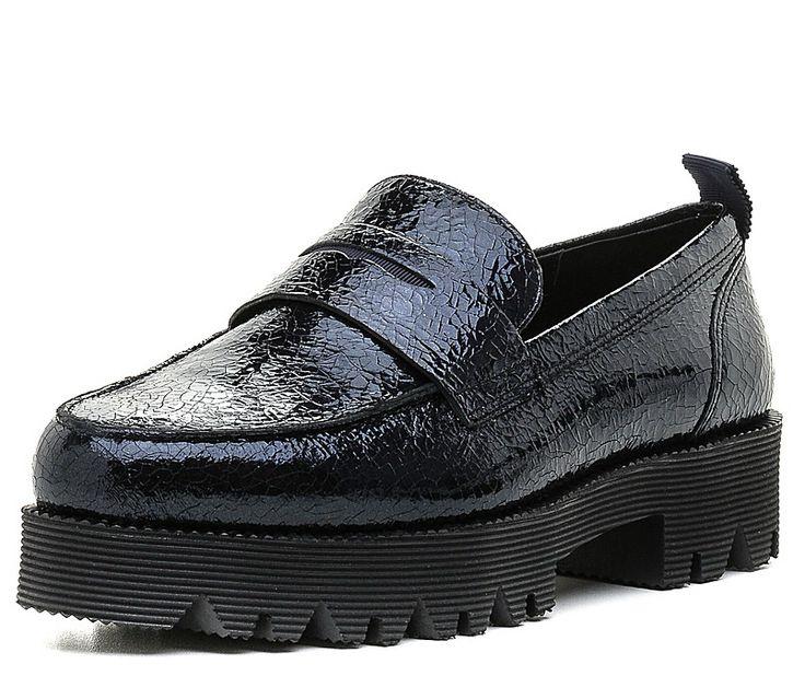Осень 2016. Модная женская обувь - лоферы на высокой подошве