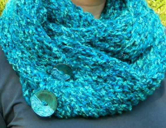 Teal blue infinity scarf chunky teal neckwarmer by craftysou