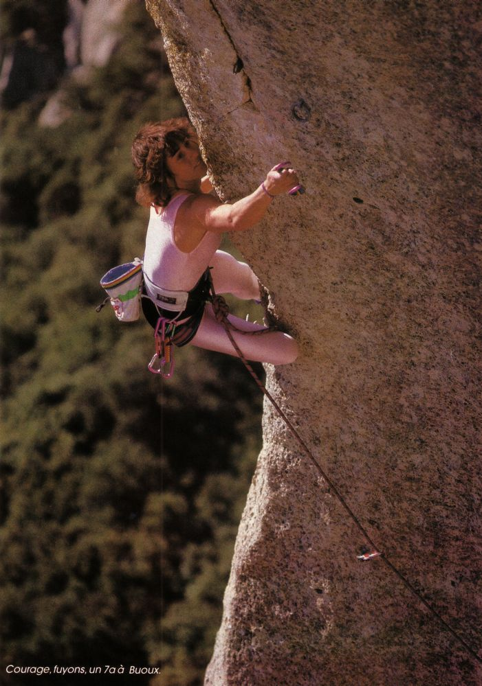 Catherine Destivelle, Buoux, fr. Picture is old, magic still here. I met Catherine, when se was no longer wearing pink leggings. Great climber and alpinist.