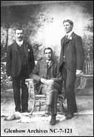 Image No: NC-7-121 Title: David Wilcox, David Elton, Hugh B. Brown, Cardston, Alberta. Date: [ca. 1908] Photographer/Illustrator: [Henson, Arthur T., Cardston, Alberta] Remarks: Listed from left to right.
