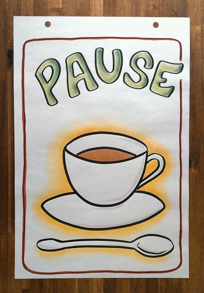 Pause, Pausenbild, Flipchart, Flipchartbild, Flipchartpräsentation, Flipchartgestaltung, Großes Bild, Illustration