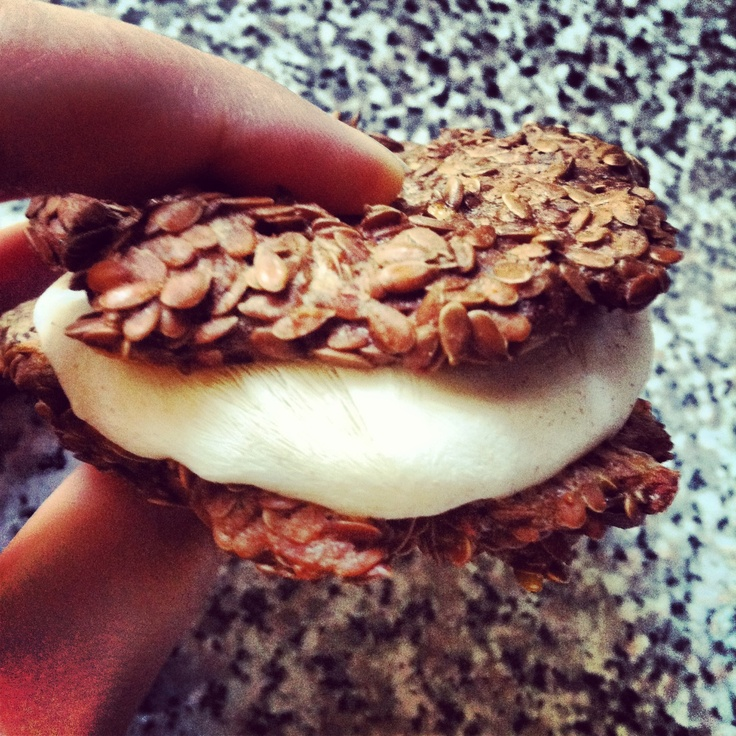 Banana Bread and Cream Freezer Sandwich #Recipe #fitfoods made #healthy with @Chobani !