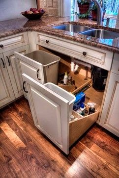 huh!  Pull out trash under sink - also pull out organizers/cleaner bays.
