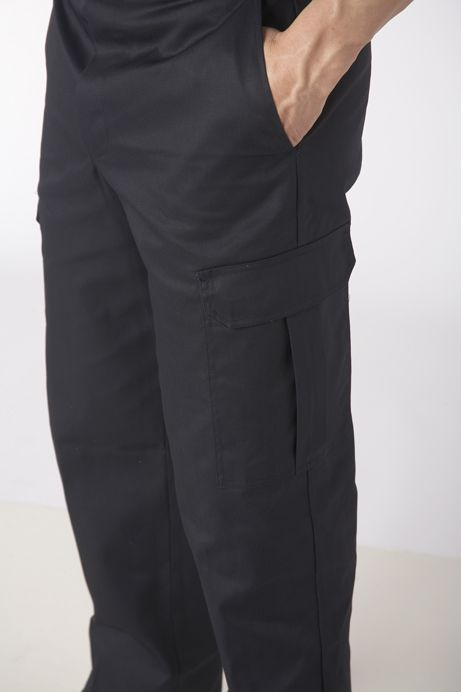Cargo Work Pant 7.5oz 65/35 poly cotton :   A serious work pant that looks like a casual pant. The Cargo Work Pant is a smart look for the workplace while still offering plenty of function. They have a heavy-duty brass zipper with top button closure, pleated cargo pockets with flap and velcro closure with 2 front pockets and 2 back pockets