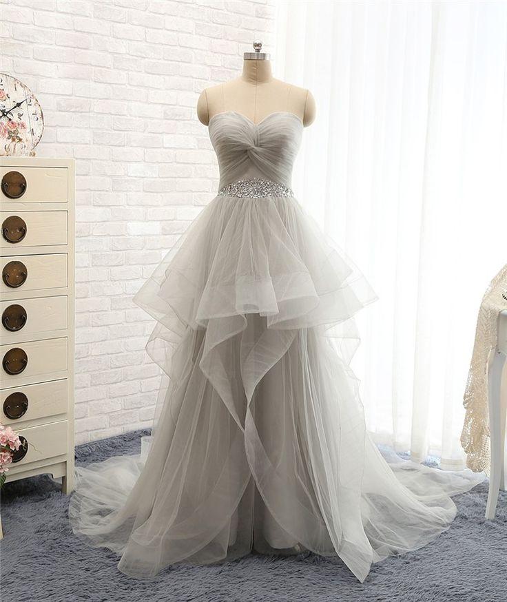 pretty grey tulle prom dress 2016, #promdresses, #prom