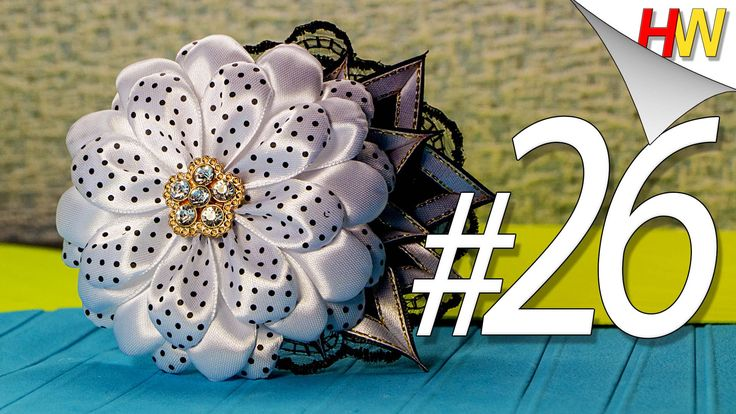 """""""Большой цветок Канзаши на ободке"""".Канзаши для начинающих.Урок № 26.Larg..."""