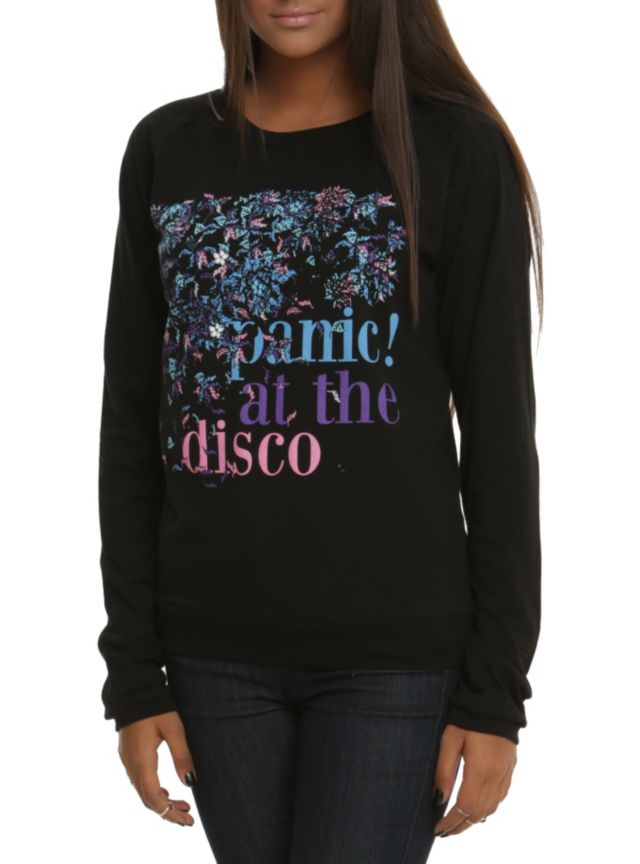 Black pullover top from Panic! At The Disco with a floral  band logo design.