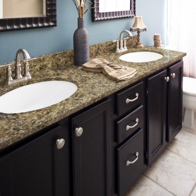 Sponge On A Pricey Looking Faux Stone Countertop    At A Fraction Of The  Cost For The Real Deal    With A Granite Paint Kit.