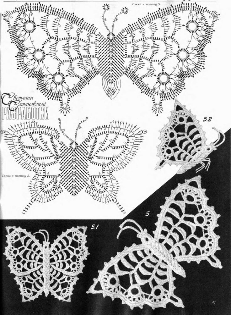 Vistoso Ganchillo Libre Del Patrón De Mariposa Colección - Manta de ...