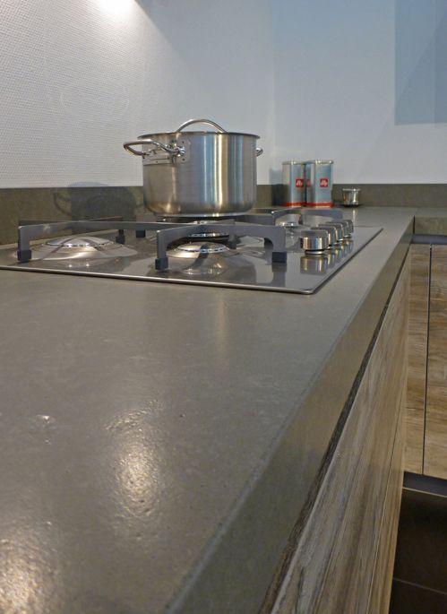 Composiet concreto satin jetstone specialist in steenachtige werkbladen kitchen - Witte quartz werkblad ...