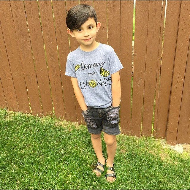 We love seeing little fellas in our Lemons make Lemonade Tee! @izabella_tovar // BIG NEWS! Kate&jAMES turns ONE Today and we have the BIGGEST SALE Planned! Starts at 9 am PST