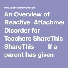 how to help a child with attachment disorder