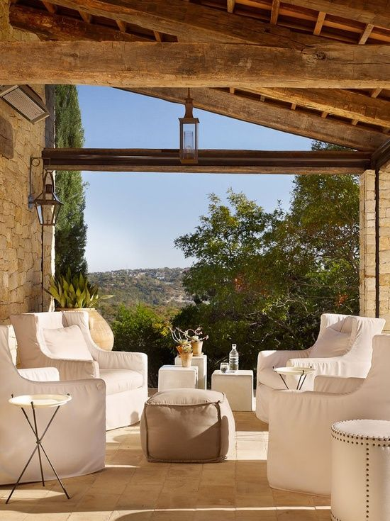 Outdoor living ~ Slipcovered chairs