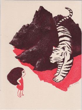 Tigre et fillette  Evelyne Mary Linogravure