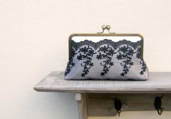 Black and white clutch bag lace wedding by ConstanceHandcrafted, $59.00