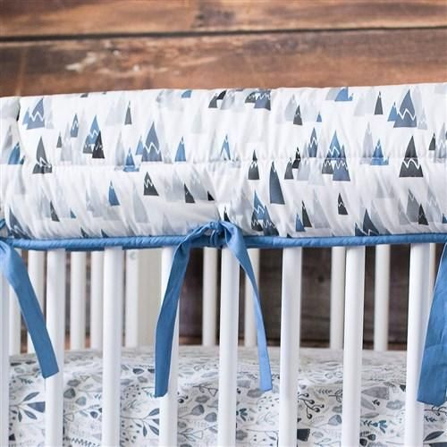 Crib Rail Guard in Blue Woodland Mountains by Carousel Designs.