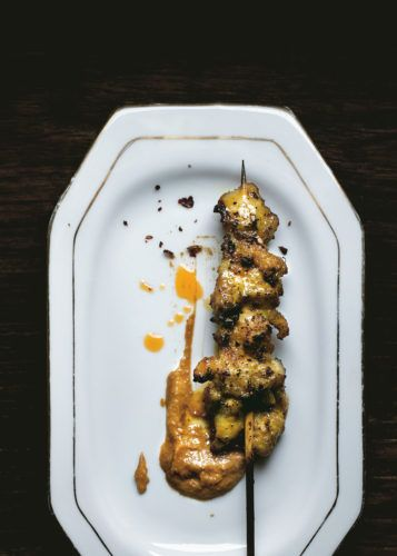 """Balinese chicken sate with """"dirty"""" peanut sauce"""