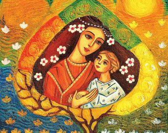Cet article est basé sur une peinture originale, nommé «La Vierge». Il représente deux chiffres halo-éclatante dans l'ancien costume d'une mère belle, béatifiée et sublime, portant un enfant attentif et affectueux dans ses bras (Vierge Marie et Jésus enfant). Il a été peint dans un style non traditionnels, ressemblant à l'iconographie orthodoxe. L'original a été peint à l'acrylique sur toile, de nuances de couleurs vives rouge, vert, jaune, noir. Ce travail s'inspire de l'italien classique…