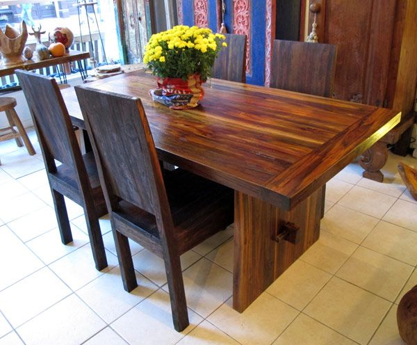 Attractive Reclaimed Teak Dining Table With Trestle Between The Legs, 3 X 6 X 1 5