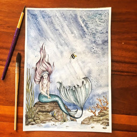 Art print of my original, vintage style, Mermaid watercolour painting Original hand made art was hand painted by me using artists quality watercolours on 300gsm paper Wall print is an archival quality giclee print for vibrant long lasting colours Wall art is printed on 300gsm