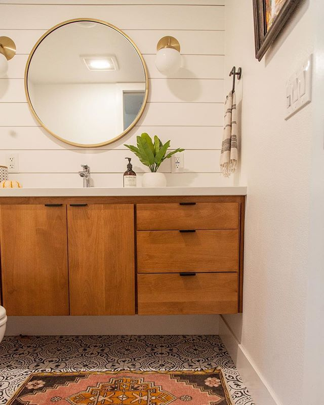 Small White Bathroom With Shiplap Floating Wood Vanity And