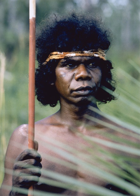 Photo David Moore 1981: David Gulpilil, Arnhem Land, Northern Territory, Australia. (b. 1953), actor and dancer, was born near Maningrida in Arnhem Land, a man of the Mandalbingu people. After his electrifying appearance in Nicolas Roeg's film Walkabout (1971), he became the best known Aboriginal actor of the 1970s. Other films include Storm Boy, Crocodile Dundee and Rabbit Proof Fence Some years ago, Gulpilil returned to his ancestral lands to subsist through hunting crocodiles and fishing.