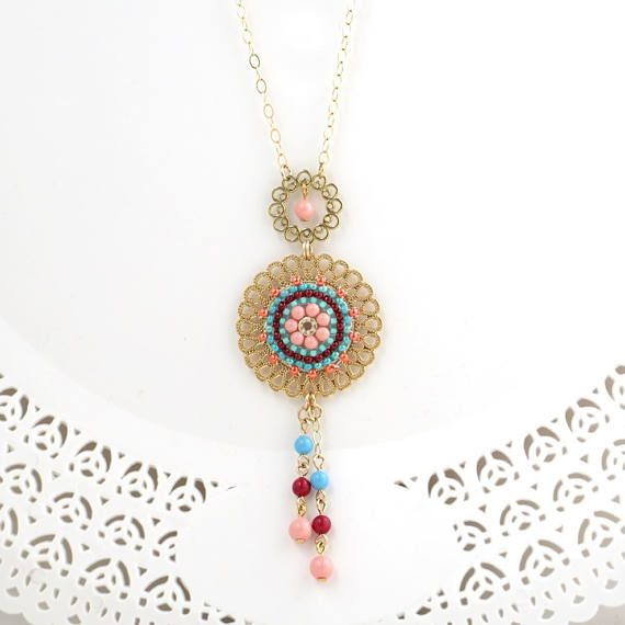 Colorful necklace, Bright necklace, Inspirational gifts for women, Circle pendant necklace, Fringe necklace gold, Long pendant necklace