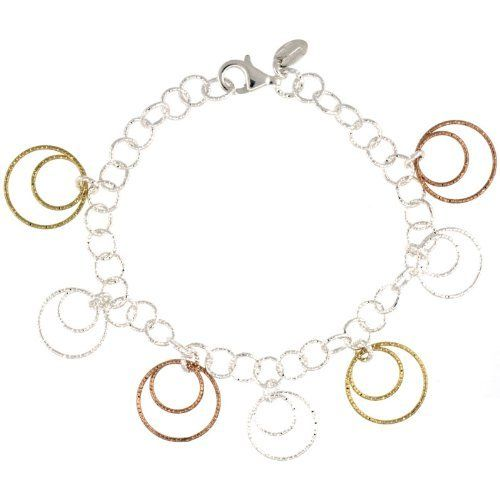 Sterling Silver Wire Hoop Circles Diamond Cut 8 in. Bracelet w/ White, Yellow & Rose Gold Finish, 7/8 in. (22mm) wide Sabrina Silver. $57.95